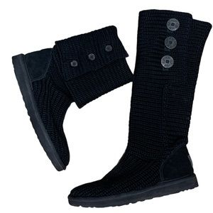 UGG Classic Tall Black Cardy Boot Size 7